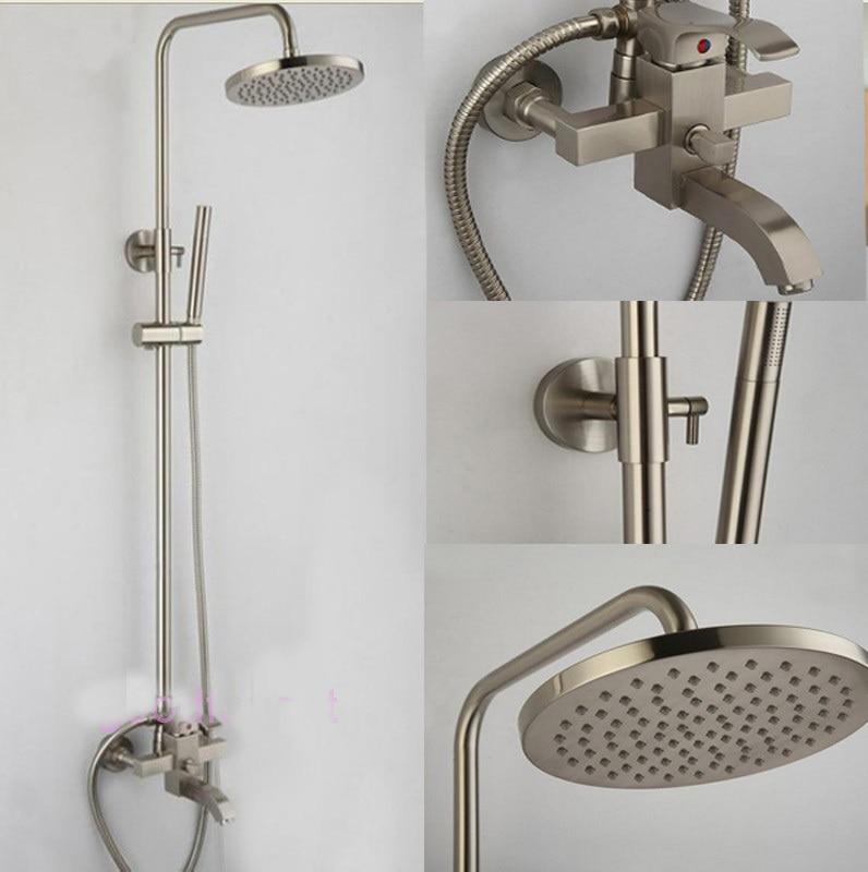 Aliexpresscom  Buy Brushed Nickel Rain Bath Shower Faucet Units - Brushed nickel tub shower faucet set