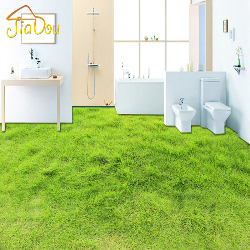 Custom Mural Wallpaper 3D Green Lawn Living Room Bedroom Bathroom Floor Sticker Self-adhesive Waterproof Modern Vinyl Wallpaper  custom 3d floor painting wallpaper stone steps sunshine pvc self adhesive living room bedroom bathroom floor sticker wall mural
