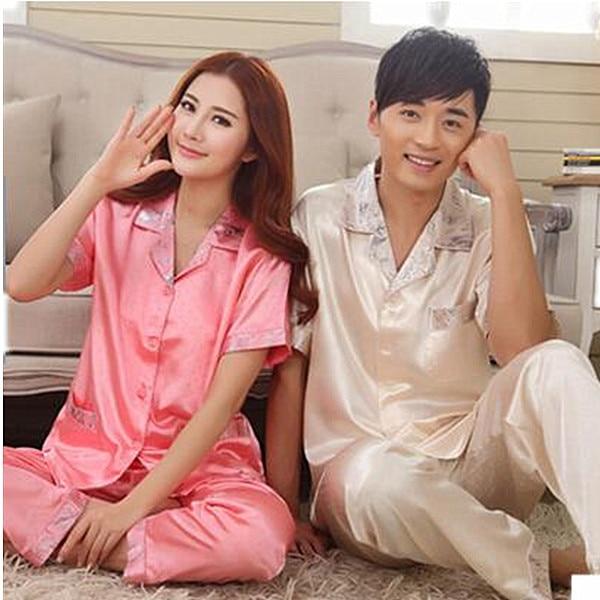 Spring Summer Silk Couples Pajamas Men Or Women Sleepwear Pyjama Set Womens Tracksuits Pijamas Femininos S0079