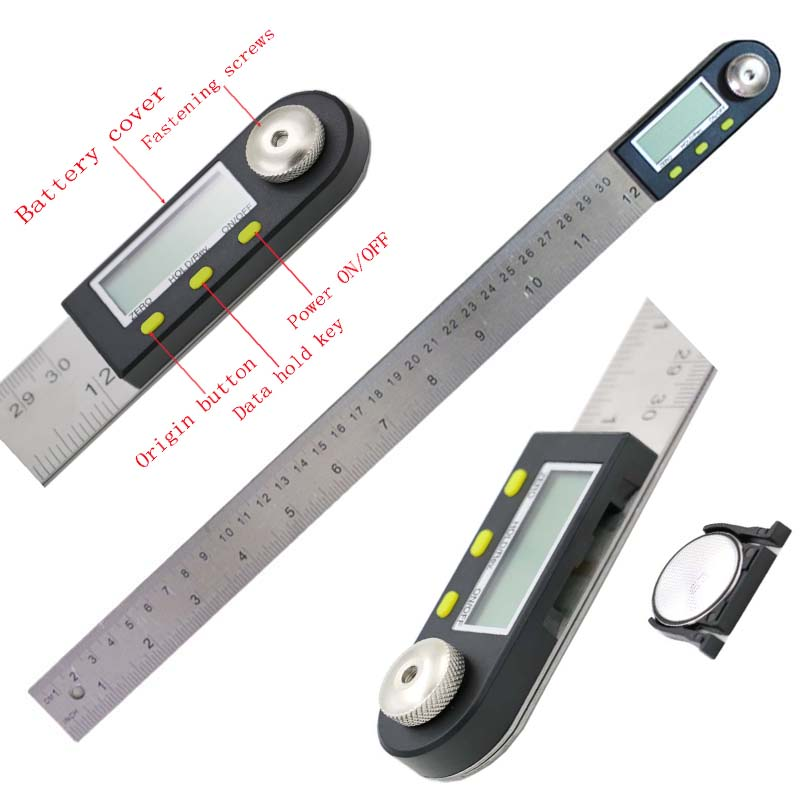 300 mm 12 Digital Angle Ruler Finder Meter Protractor Inclinometer Goniometer Electronic Angle Gauge Stainless Steel 0 225 degree digital angle level meter gauge 400mm 16inch electronic protractor free shipping