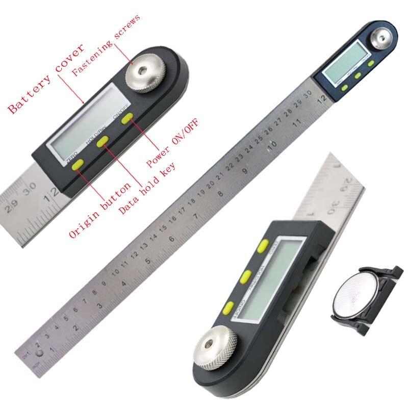 300mm 12 Numérique Angle Règle Finder Compteur Rapporteur Inclinomètre Goniomètre Électronique Angle Jauge En Acier Inoxydable