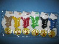 12 пар/лот футбол носки нет скольжение младенческой малыша носки хлопок младенцы носки прекрасный надписи