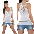 2016 New Fashion Casual Tank Tops Women Bandage Slim Summer Vest Sexy Lace Back Halter Tops Shirt Sleeveless Camisole blusas