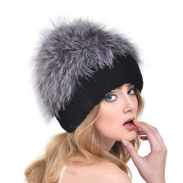 2016 New European and American Women Fashion Knit Fur Hat Rabbit Fur Autumn and Winter Female Fox Fur Thick Warm Ear Cap LH327