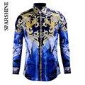 Camisa de marca Homens Chemise Homme 2016 Luxury Design de Moda Floral Impresso Slim Fit Longo Da Luva Dos Homens Camisas de Vestido de Algodão