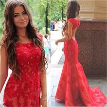 2016 Glamorous Red Prom Kleid Sexy Backless mit Appliques und Spitze Abendkleid Benutzerdefinierte Vestido De Festa Gala jurken