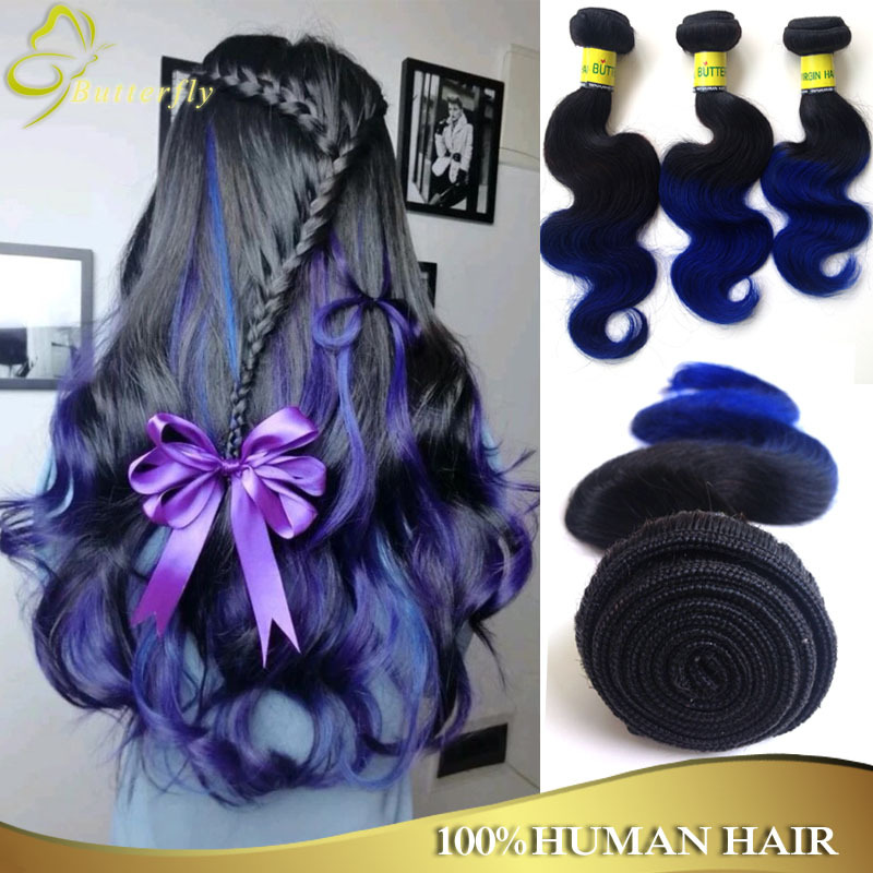 Ombre Blue Brazilian Hair Body Wave 4pcs Wet And Wavy Human Hair 7a