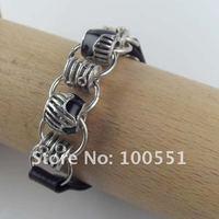модные мужские женщины черный натуральная кожа браслет браслет с металлические автобусы браслет, бр-733