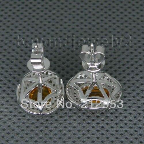 Винтаж Овальный 6x8 мм 14Kt белого золота натуральный цитриновые серьги для продажи E0003
