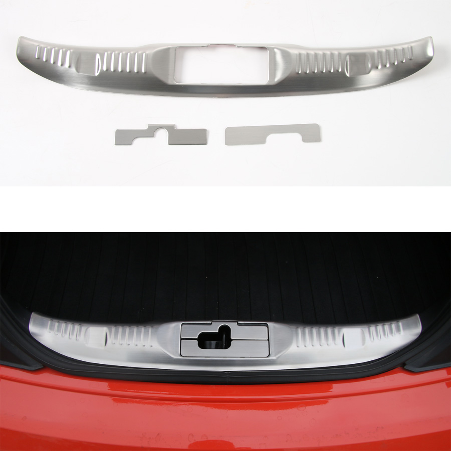 YAQUICKA Stainless Steel Car Rear Trunk Door Guard Cover Trim Fit For Ford Mustang 2015 2016 Car Accessory Styling Car-covers bbq fuka rear trunk shade cargo cover fit for 2011 2013 ford edge black