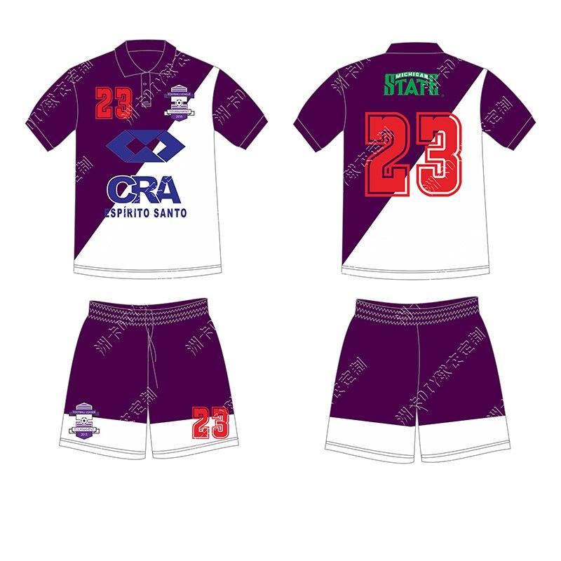 Custom Multi color any logo high quality Full sublimation Football shirt Lapel