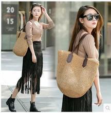 Mode Strohsack woven Tasche Schulter big bag weibliche Strandtasche