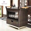 Отель ротанга чай автомобиль модный сиденье ротанга отель тележки кухонная мебель красное вино держатель для напитков