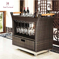 Hotel rattan tea car Fashionable outdoor rattan furniture hotel carts Kitchen furniture red wine beverage holder