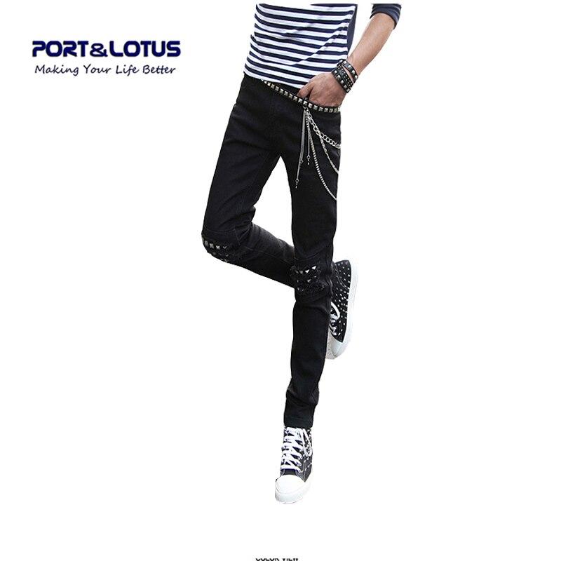 Port Lotus Fashion Casual Jeans New Arrival Punk Style Rivet Decoration Slim Fit Midweight Pencil Pants