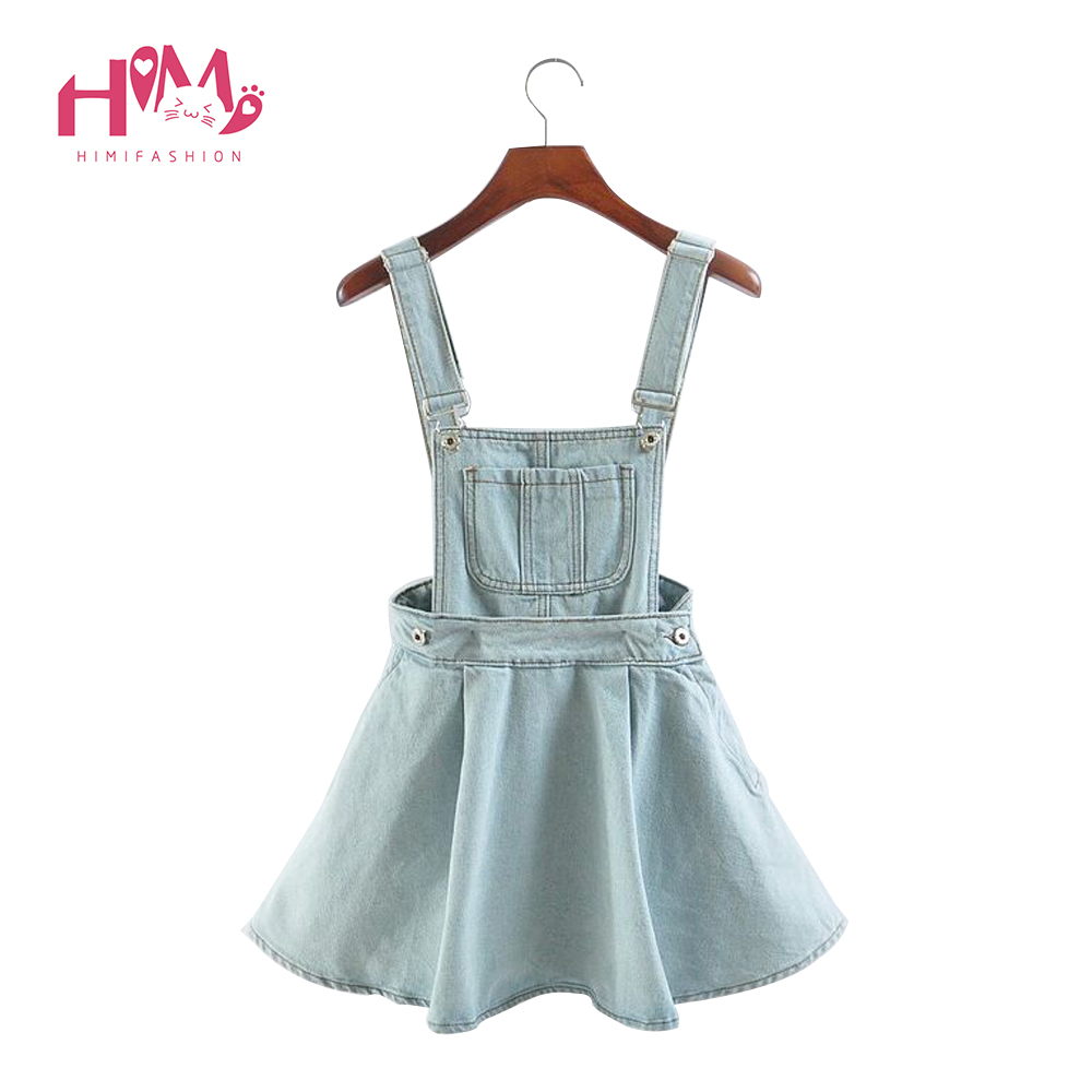 Vivi Japan Sstrap School Denim Dress For Ladies Dark Blue Removable Summer Detachable Student Overalls Dress Women Kawaii Cloth 1