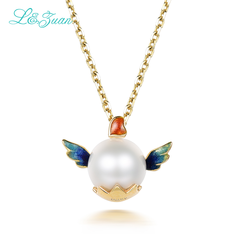 l&zuan 18K-Gold Pearl Woman pendants necklaces Romantic Fine Jewelry love heart angel Sweater chain christmas Gift love heart opening wings shape sweater chain