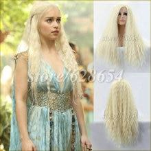 Largo y Flexible rubia Daenerys Targaryen Cosplay peluca 22 – 26 pulgadas de pelo largo y rizado pelucas delanteras del cordón sintético a prueba de calor de la onda del cuerpo