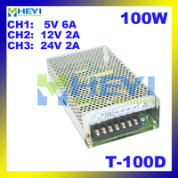 100W mini power supply 3 output 5V 5V 6A, 12V 2A, 24V 2A ac to dc T 100D triple switching power supply