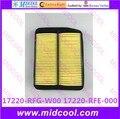 O envio gratuito de alta qulality filtro de ar para 17220-RFG-W00 17220-RFE-000