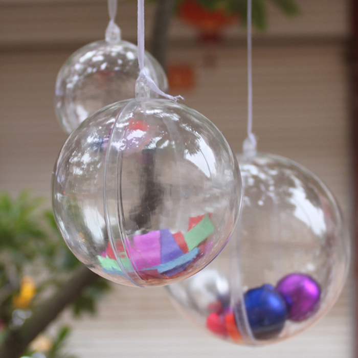 10pcs DIY Romantic Christmas Decorations For Tree Hanging Home Ball Transparent Open Plastic Cristmas Clear Bauble Ornament Gift In Ornaments From