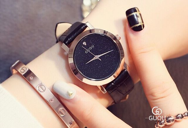5ca5605b85b HK Marca Guou Mulheres de Boa qualidade pulseira de couro genuíno relógios  De Luxo primeiro grau