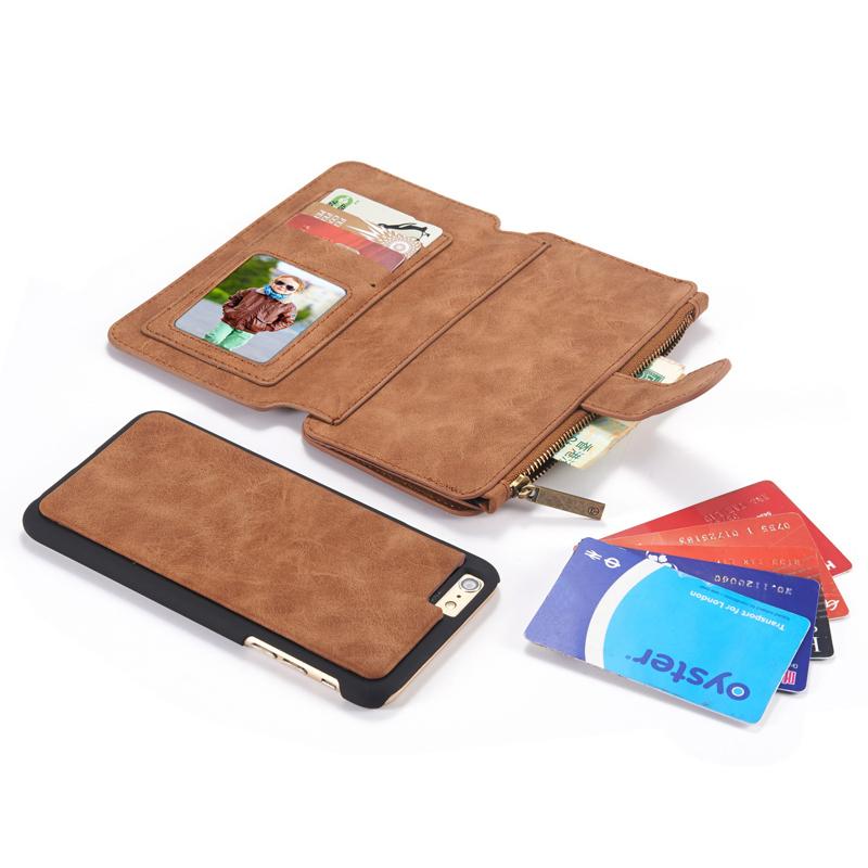 best service d2c68 84902 US $8.54 5% OFF|Flip Leather Case Luxury Men Zipper Wallet Purse Card Slot  Stand Holder Pouch Cover Bag For iPhone 5 5s SE 5C 6 6s 7 Plus-in Wallet ...