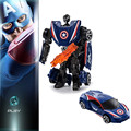 Diecast metal robot transformación cars juguete/brinquedos, 10 cm spider man capitán américa hulk iron man car toys for children