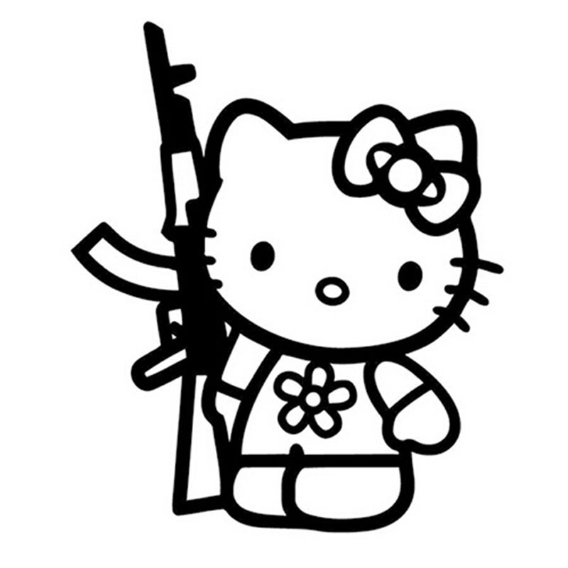 13.5*16CM Funny Hello Kitty Rifle Vinyl Sticker Decal ...
