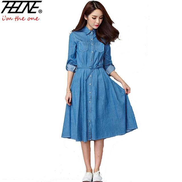 cbfd8958e3 Denim Dress Women Robe Femme Pleated Long Sleeve Casual Button Up Slim  Elegant Dark Light Blue Jeans Summer Dress Vestido