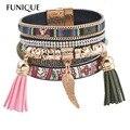 FUNIQUE Women Boho Brazilian Leather bracelet Tassels Wrap Bracelet Multilayer Beads Bracelet magnet Buckle Women Jewelry