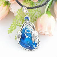 в форме сердца унакит и сверкающие красный топаз 925 серебро ювелирные изделия ожерелье кулон п-331 в камень полудрагоценный