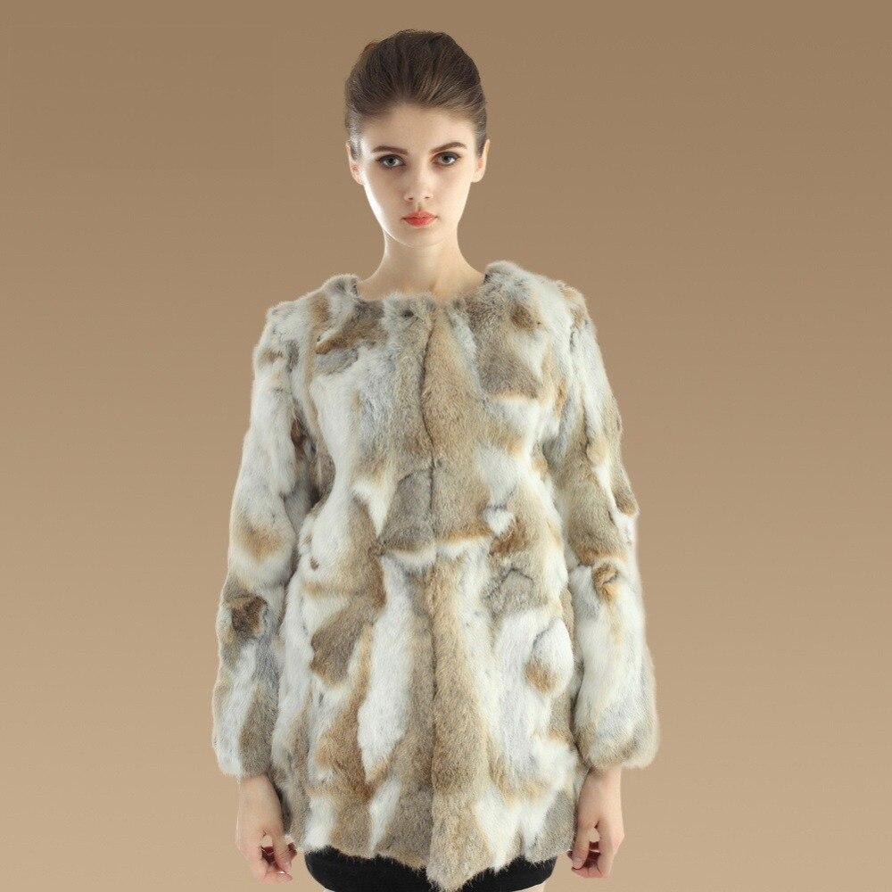 Шуба из натурального кроличьего меха Md-long Женская куртка из натурального нарезанного меха новая зимняя верхняя одежда вязаная Толстая теплая ZL3319