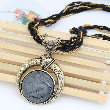 F&U Retro Bohemia Necklace Crack Round Pendant Multilayer Colorful Beads Chain Vintage Necklace Jewelry Fashion For Women 4