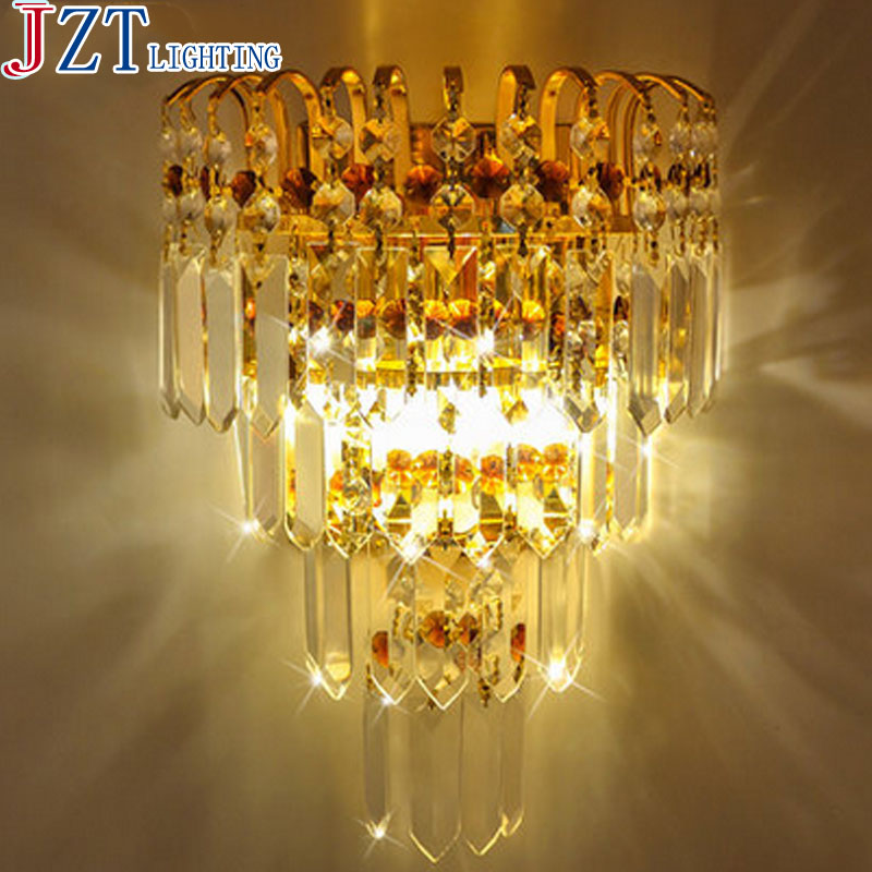 M Eourpean Style Beside K9 Crystal Wall Lamp Include Bulbs LED Golden and Silver Circular Light for Living room Bedroom Hallway 220v led fashion crystal wall lamp golden bedroom living room background wall hotel decoration wall light color crystal light