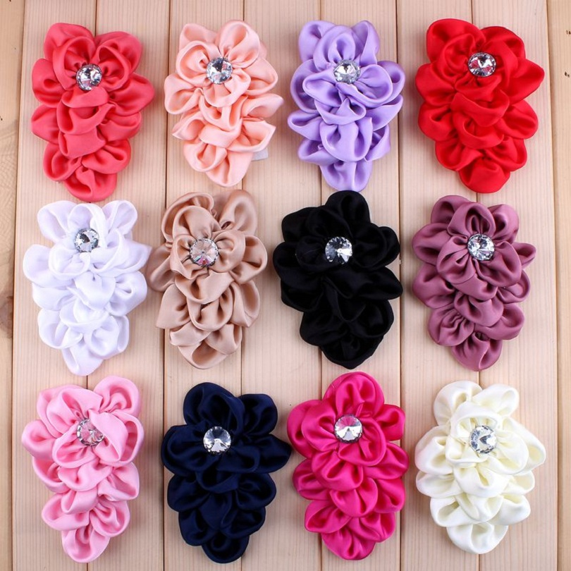 10pcs/lot 12 Colors Hair Clips Lchthyosis Shape Fabric Headband Flower Artificial Wedding Decorative Flowers+Bling Buttons DIY