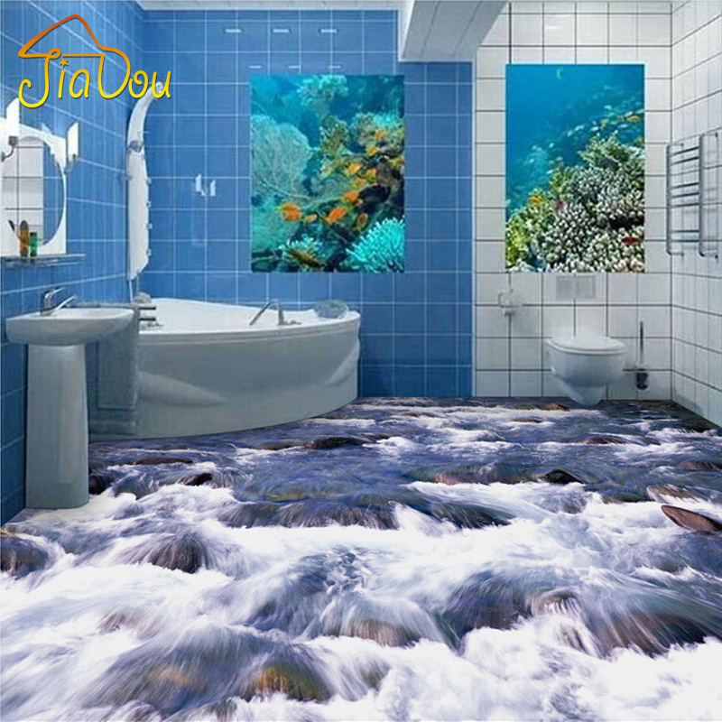Buy custom photo floor wallpaper 3d mural for Bathroom mural wallpaper