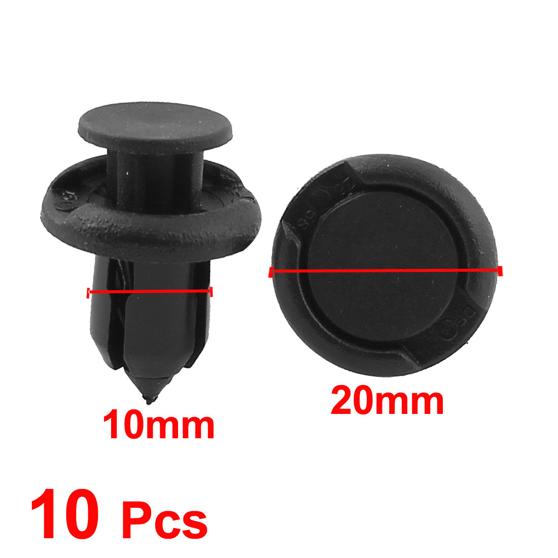 100 Pcs 10mm Hole Dia Black Plastic Rivets Fastener Car Push in Type Clips