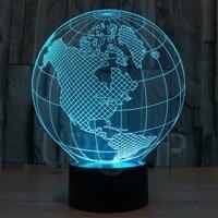 YJM 2818 3D LED Lamp Earth Shape Globe Shape Art Sculpture Lights in Colors 3D Optical Illusion Lights