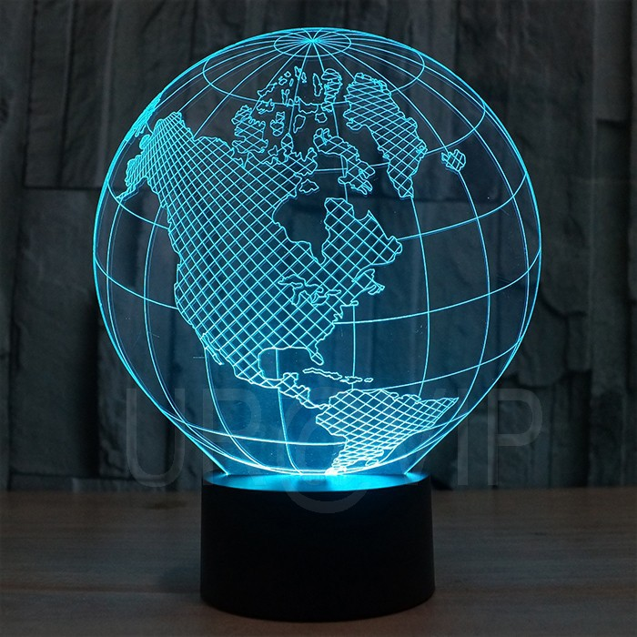 YJM-2818 3D LED Lamp Earth Shape Globe Shape Art Sculpture Lights in Colors 3D Optical Illusion Lights image