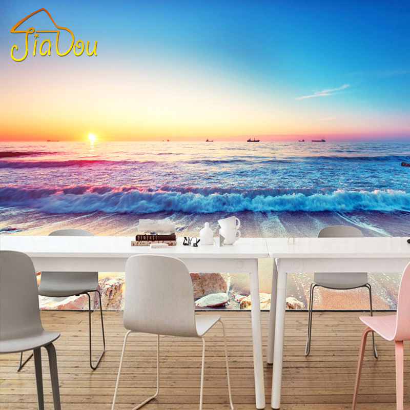 Custom 3D Stereo Mural Wallpaper Romantic Mediterranean Beach Murals Non-woven Living Room Bedroom TV Backdrop Photo Wallpaper pink romantic sakura reflection large mural wallpaper living room bedroom wallpaper painting tv backdrop 3d wallpaper