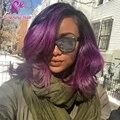 Nueva moda 1B / Purple Ombre sin cola llena del cordón pelucas del pelo humano brasileño de la virgen del pelo del frente del cordón Ombre U parte peluca negro Women