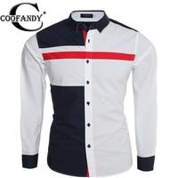 Coofandy Men Casual Shirt Long Sleeve Contrast Color Patchwork Fashion Button Down Dress Shirt US Plus