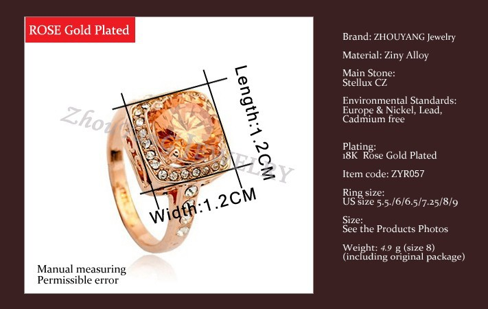 Top Quality ZYR057 Yellow Crystal Rose Gold Color Ring Jewelry Crystals From Austria Full Sizes Wholesale 16