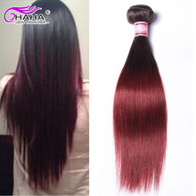 Cheap Human Hair 100g Bundles #1B 99j Brazillian Straight Hair Ombre Two Tone 1Piece Burgundy Hair Weaves For Sale Moda Hair
