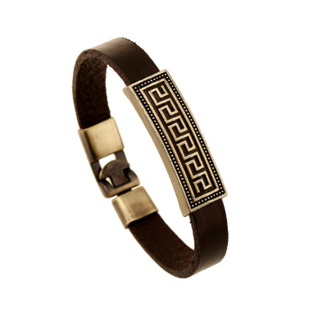 2017 hot sell  Fashion Men Jewelry leather Plated  Great Wall Patterns Weave Geniune Leather Stainless Steel Bracelets Bangle