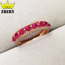 Natural Ruby gems stone ring real 925 sterling silver rings gold plated women stone jewelry