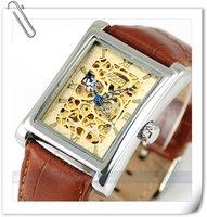 мужские лица автоматического роскошного стали наручные часы скелет мужская механические часы fle001 рождественский подарок бесплатная доставка