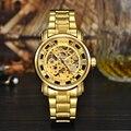 MCE Marca de Luxo Automático Ouro Skeleton Relógio de Pulso Mecânico de Aço Inoxidável À Prova D' Água Homem com caixa de presente original 049