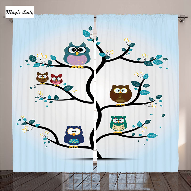 Owls Jungle Animals Wooden Bedroom Furniture Kids: Curtains Kids Owl Living Room Bedroom Family Perched Tree